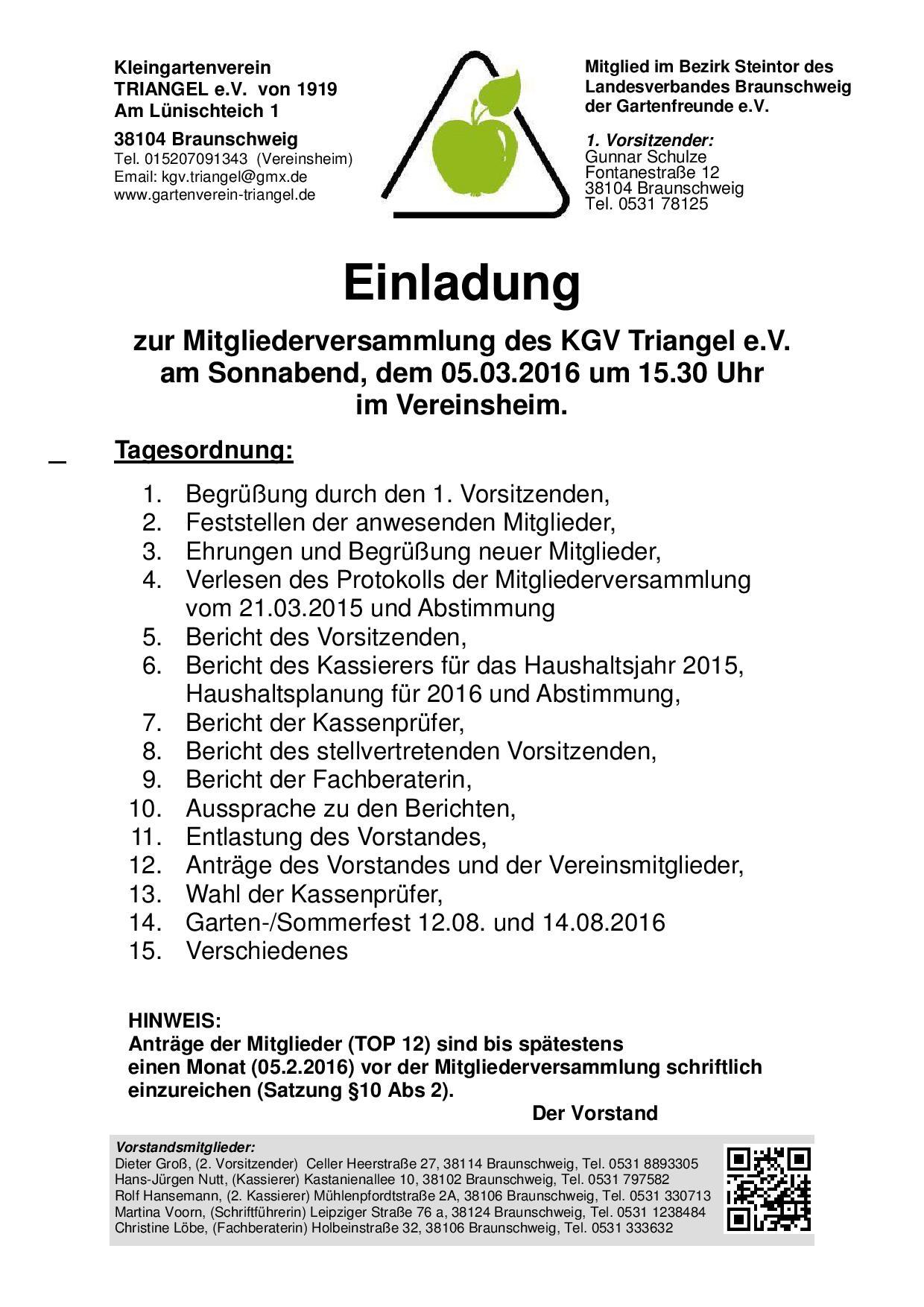einladung zur mitgliederversammlung 2016 | kleingartenverein, Einladung